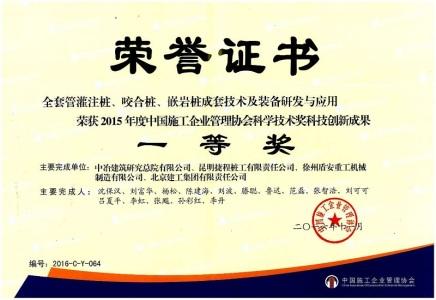 中国施工企业管理协会科学技术奖科技创新成...(1)