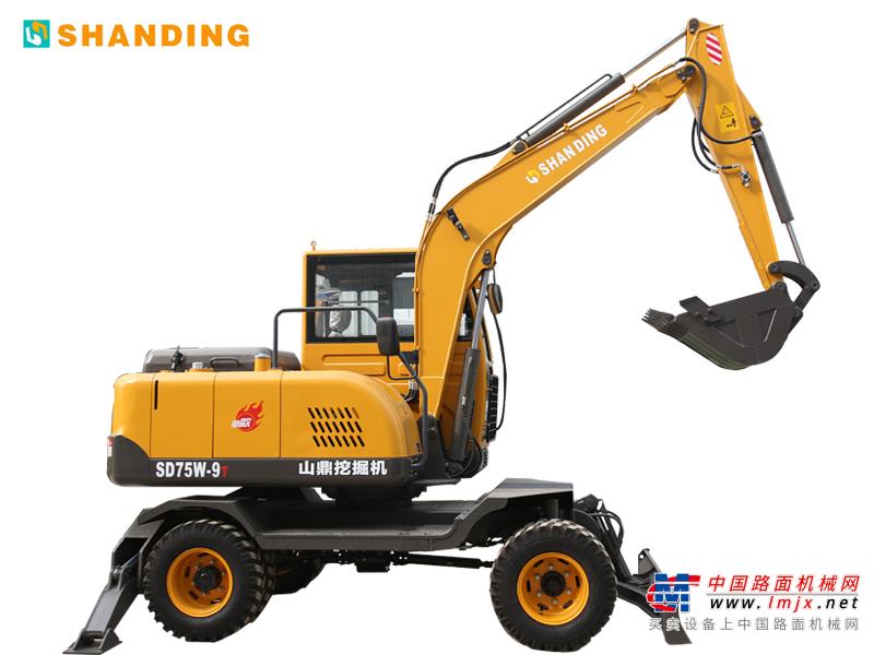 山鼎机械SD75W-9T小型挖掘机高清图 - 山鼎SD75W-9T轮胎式挖掘机外观图片