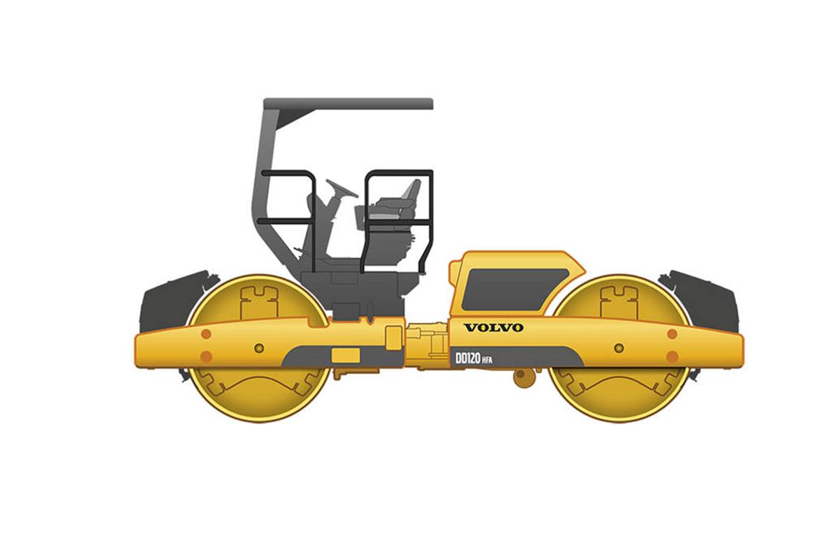 沃尔沃DD120双钢轮压路机高清图 - 外观