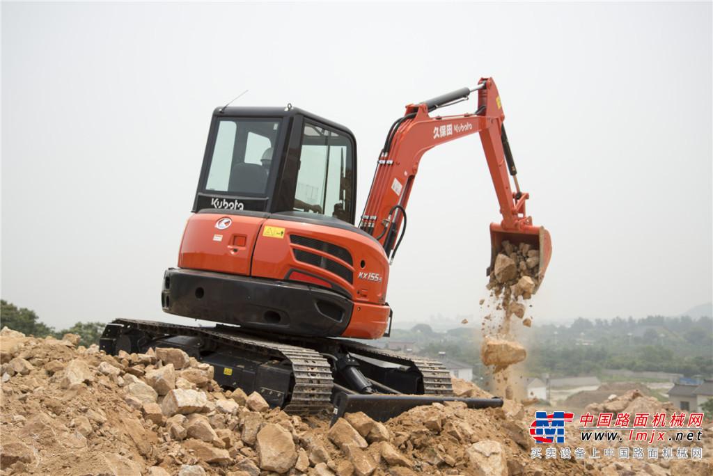 久保田KX155-5无尾回转小型挖掘机高清图 - 施工案例