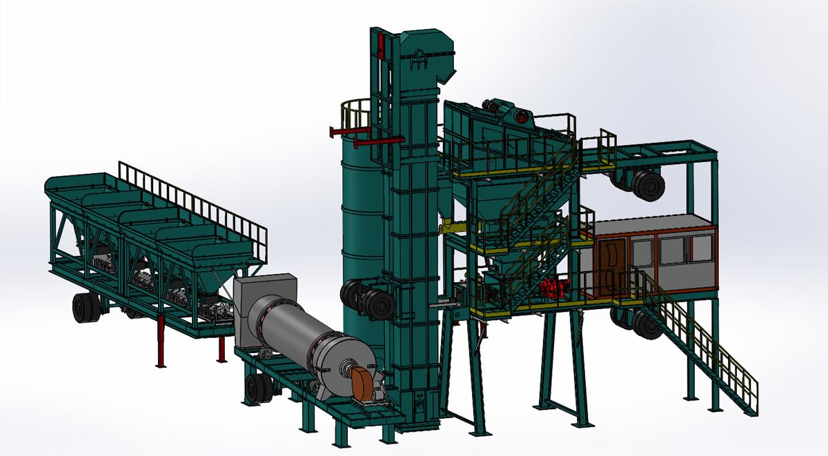 亚龙筑机YLB2000移动式沥青混合料搅拌设备高清图 - 外观