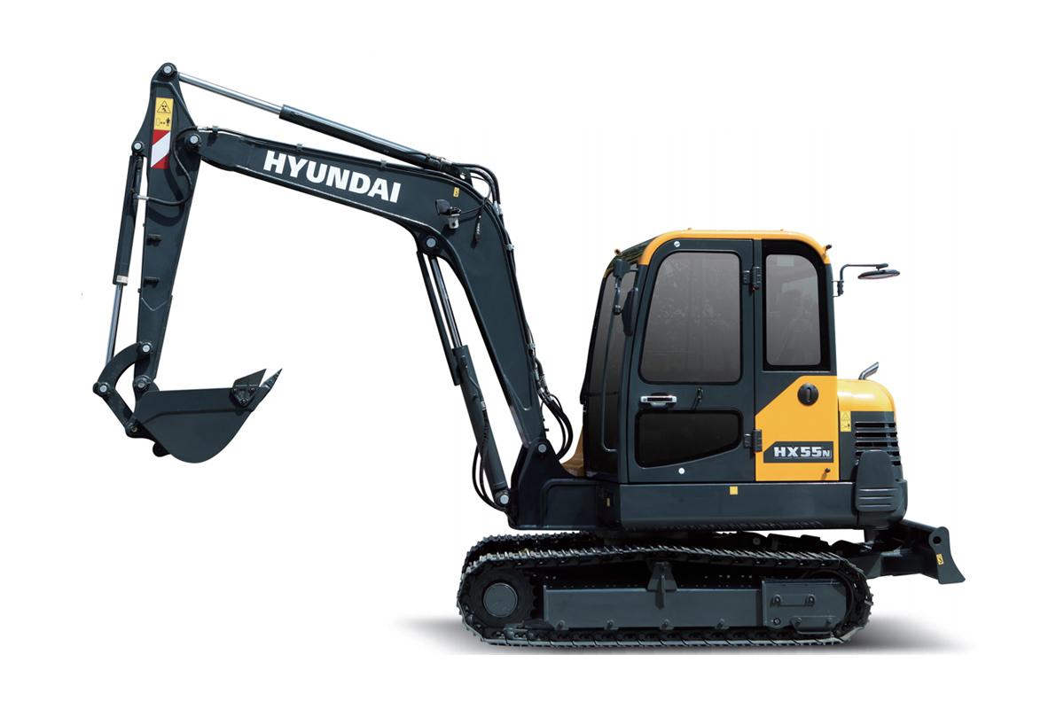 现代重工HX55N小型挖掘机高清图 - 外观